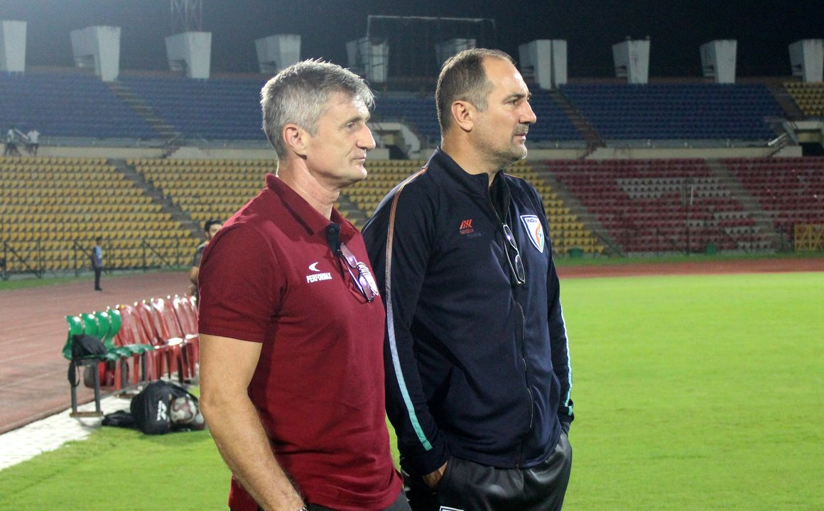 ISL 2019-20 NorthEast United head coach Robert Jarni with Indian football team head coach Igor Stimac