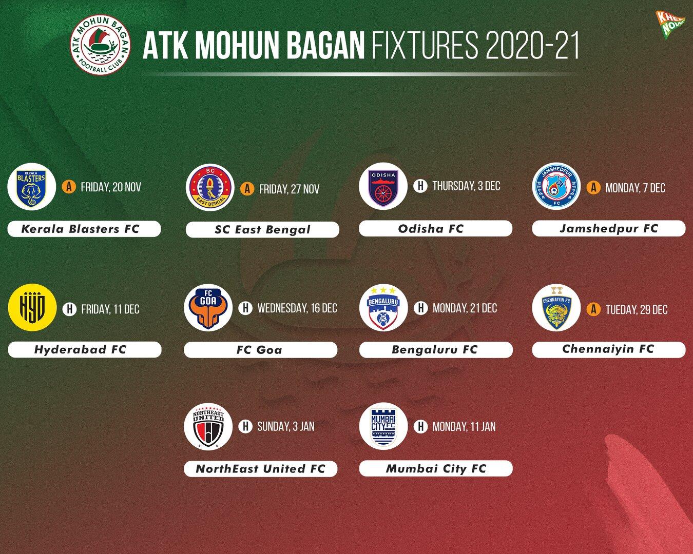 ATK Mohun Bagan fixtures